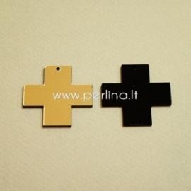 """Org. stiklo detalė-pakabukas """"Kryžius"""", juodos/auksinės sp., 3x3 cm"""