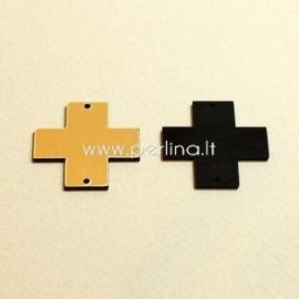 """Org. stiklo detalė-intarpas """"Kryžius"""", juodos/auksinės sp., 3x3 cm"""