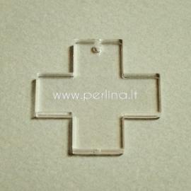 """Org. stiklo detalė-pakabukas """"Kryžius"""", skaidrus, 3x3 cm"""