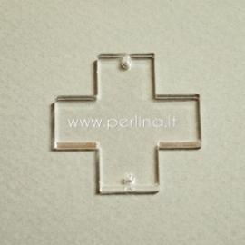 """Org. stiklo detalė-intarpas """"Kryžius"""", skaidrus, 3x3 cm"""