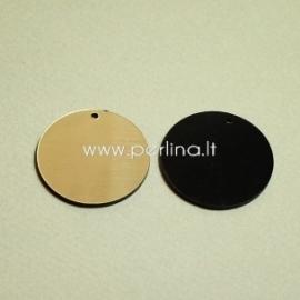 """Org. stiklo detalė-pakabukas """"Pilnatis"""", juodos/auksinės sp., 3 cm"""