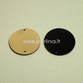 """Org. stiklo detalė-intarpas """"Pilnatis"""", juodos/auksinės sp., 3 cm"""