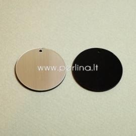 """Org. stiklo detalė-pakabukas """"Pilnatis"""", juodos/sidabrinės sp., 3 cm"""
