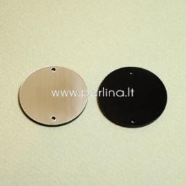 """Org. stiklo detalė-intarpas """"Pilnatis"""", juodos/sidabrinės sp., 3 cm"""
