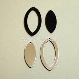 """Org. stiklo detalė-pakabukas """"Lašas"""", juodos/sidabrinės sp., 4x2 cm"""