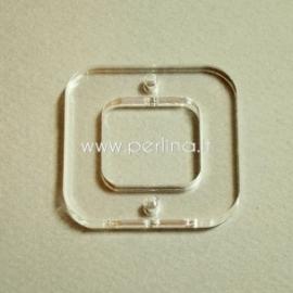 "Org. stiklo detalė - intarpas ""Kvadratas"", skaidri sp., 4x4 cm"