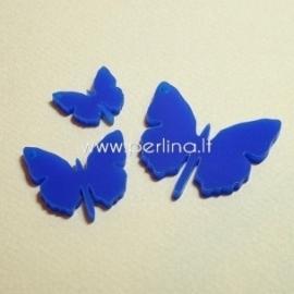 """Org. stiklo detalė-pakabukas """"Drugelis 1"""", mėlynos sp., 3x3 cm"""