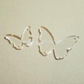 "Org. stiklo detalė-intarpas ""Drugelis 13"", skaidrios sp., 3,7x2,7 cm"