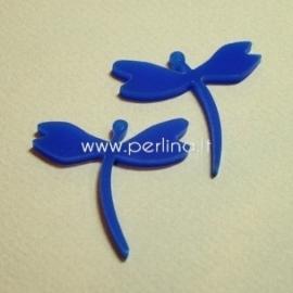 """Org. stiklo detalė-pakabukas """"Laumžirgis 1"""", mėlynos sp., 4x3,7 cm"""