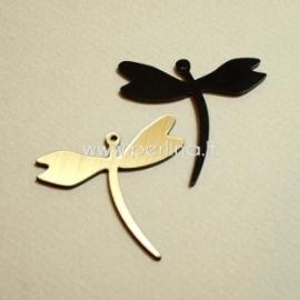 """Org. stiklo detalė-pakabukas """"Laumžirgis 1"""", juodos/auksinės sp., 4x3,7 cm"""