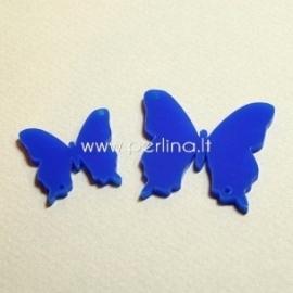 "Org. stiklo detalė-intarpas ""Drugelis 19"", mėlynos sp., 2,6x2,4 cm"