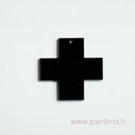 """Org. stiklo detalė-pakabukas """"Kryžius"""", juodos sp., 2,2x2,2 cm"""