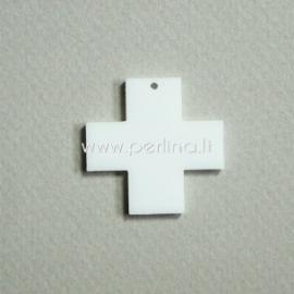 "Org. stiklo detalė-pakabukas ""Kryžius"", baltos sp., 2,2x2,2 cm"