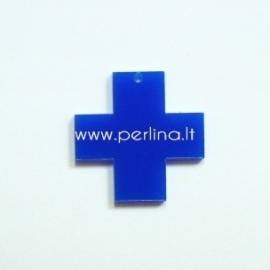 """Org. stiklo detalė-pakabukas """"Kryžius"""", mėlynos sp., 2,2x2,2 cm"""