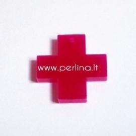 """Org. stiklo detalė-pakabukas """"Kryžius"""", fuksijos sp., 2,2x2,2 cm"""