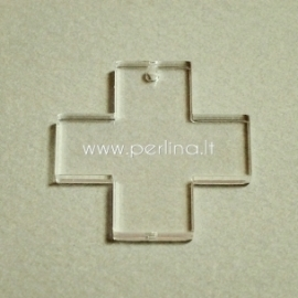 """Org. stiklo detalė-pakabukas """"Kryžius"""", skaidrus, 2,2x2,2 cm"""