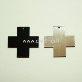 """Org. stiklo detalė-pakabukas """"Kryžius"""", juodos/sidabrinės sp., 2,2x2,2 cm"""