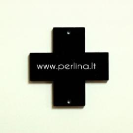 "Org. stiklo detalė-intarpas ""Kryžius"", juodos sp., 2,2x2,2 cm"