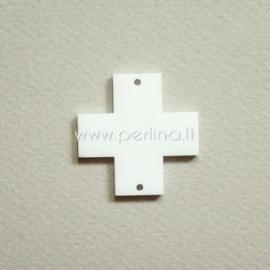 """Org. stiklo detalė-intarpas """"Kryžius"""", baltos sp., 2,2x2,2 cm"""