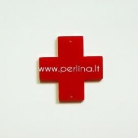 """Org. stiklo detalė-intarpas """"Kryžius"""", raudonos sp., 2,2x2,2 cm"""