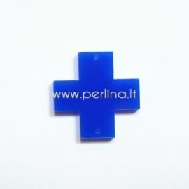 """Org. stiklo detalė-intarpas """"Kryžius"""", mėlynos sp., 2,2x2,2 cm"""