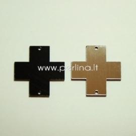 """Org. stiklo detalė-intarpas """"Kryžius"""", juodos/sidabrinės sp., 2,2x2,2 cm"""