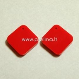 """Org. stiklo detalė-pakabukas """"Rombas"""", raudonos sp., 1,6x1,6 cm"""