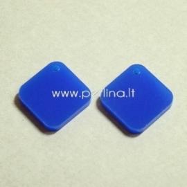 """Org. stiklo detalė-pakabukas """"Rombas"""", mėlynos sp., 1,6x1,6 cm"""