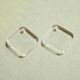 """Org. stiklo detalė-pakabukas """"Rombas"""", skaidrus, 1,6x1,6 cm"""