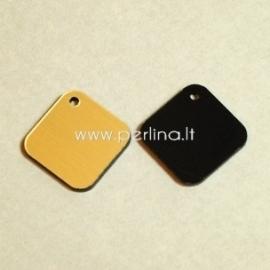 """Org. stiklo detalė-pakabukas """"Rombas"""", juodos/auksinės sp., 1,6x1,6 cm"""