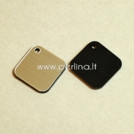 """Org. stiklo detalė-pakabukas """"Rombas"""", juodos/sidabrinės sp., 1,6x1,6 cm"""