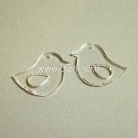 """Org. stiklo detalė-pakabukas """"Paukštelis 2"""", skaidrus, 3,3x2,8 cm"""