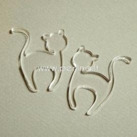 """Org. stiklo detalė-pakabukas """"Katinėlis 1"""", skaidrus, 4x3,2 cm"""