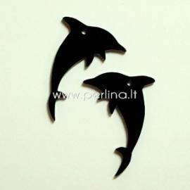 """Org. stiklo detalė-pakabukas """"Delfinas"""", juodos sp., 3,5x2,8 cm"""
