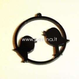"""Org. stiklo detalė-pakabukas """"Du paukšteliai"""", juodos sp., 4,5x4,5 cm"""
