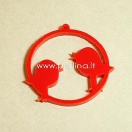 """Org. stiklo detalė-pakabukas """"Du paukšteliai"""", raudonos sp., 4,5x4,5 cm"""