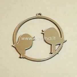 """Org. stiklo detalė-pakabukas """"Du paukšteliai"""", juodos/sidabrinės sp., 4,5x4,5 cm"""