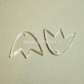 """Org. stiklo detalė-pakabukas """"Tulpė"""", skaidrus, 3x2,7 cm"""