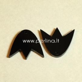 """Org. stiklo detalė-pakabukas """"Tulpė"""", juodos sp., 2,2x1,9 cm"""