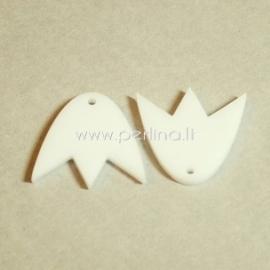 "Org. stiklo detalė-pakabukas ""Tulpė"", baltos sp., 2,2x1,9 cm"