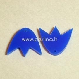 """Org. stiklo detalė-pakabukas """"Tulpė"""", mėlynos sp., 2,2x1,9 cm"""