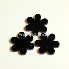 """Org. stiklo detalė-pakabukas """"Gėlytė"""", juodos sp., 2,2x2,2 cm"""