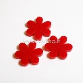 """Org. stiklo detalė-pakabukas """"Gėlytė"""", raudonos sp., 2,2x2,2 cm"""