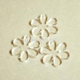 """Org. stiklo detalė-pakabukas """"Gėlytė"""", skaidrus, 2,2x2,2 cm"""