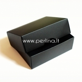 Two-piece cardboard rectangular box, black, 9x7x3 cm