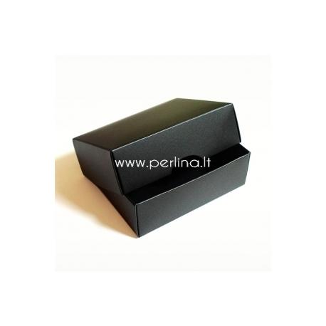 Kartoninė stačiakampė dėžutė, juoda, 9x7x3 cm